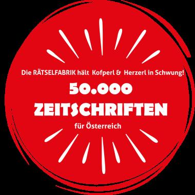 Die 50000 Zeitschriften für Österreich Aktion von der Rätselfabrik Österreich