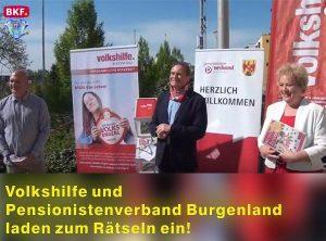 Das Bild zeigt einen Ausschnitt vom Beitrag des BKF über die Rätsel-Aktion der Volkshilfe Burgenland, des Pensionistenverbands Burgenlands und der Rätselfabrik
