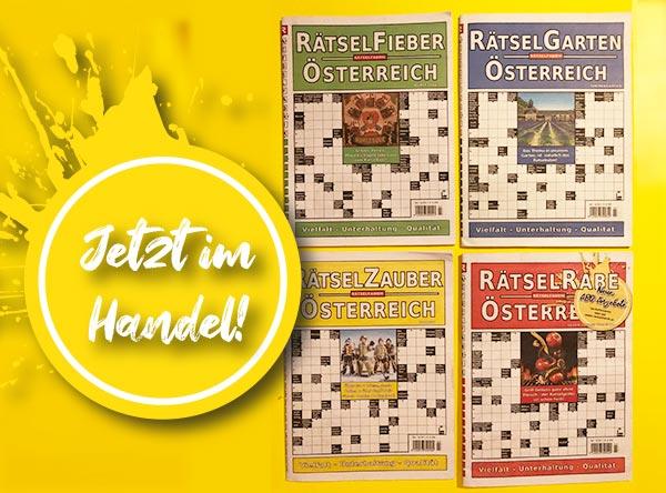 Die neuen Ausgaben von Rätselfieber, Rätselgarten, Rätselzauber, Rätselrabe sind jetzt im Handel