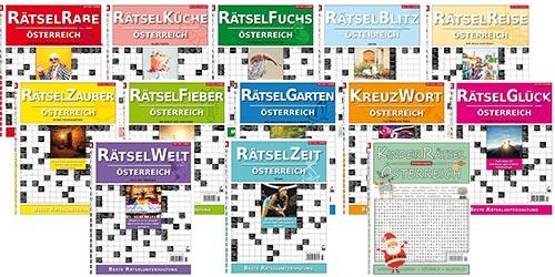 Übersicht über alle 13 Rätselzeitschriften der Rätselfabrik Österreich