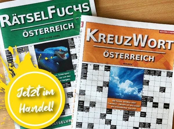 Neue Ausgaben vom Rätselfuch Österreich und Kreuzwort Österreich