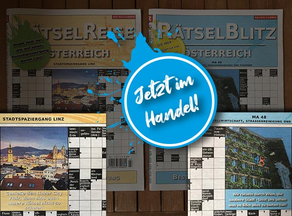 Neue Ausgaben von Rätselblitz Österreich und Rätselreise Österreich